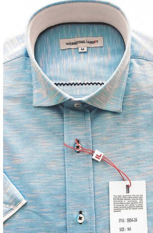 International Laundry Light Blue Short Sleeve Tailored Fit Knit Shirt #5954-24