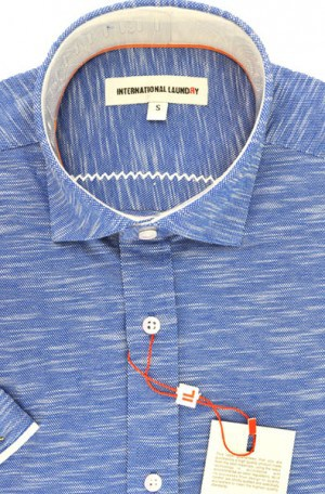 International Laundry Variegated Blue Short Sleeve Tailored Fit Knit Shirt #5954-5