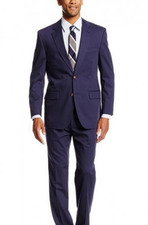 Palm Beach Carbon Blue Poplin Summer Suit #7027