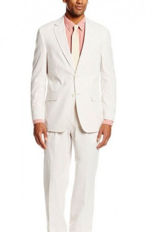 Classic Tan & White Summer Seersucker Suit 7257