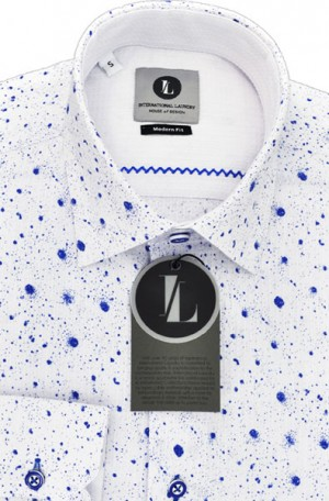 International Laundry White & Blue Long Sleeve Slim Fit Sportshirt #7526-4