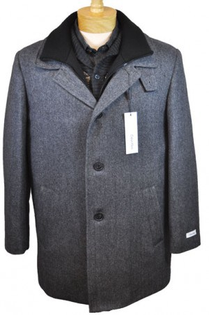 Calvin Klein Gray Herringbone Insulated Wool Blend Car Coat #7AC0041