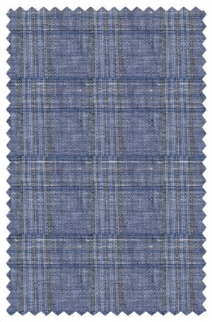 Calvin Klein Blue Plaid Linen Tailored Fit Sportcoat #7AY0141
