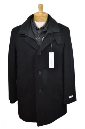 Calvin Klein Black Wool-Blend Insulated Car Coat #7OU0100