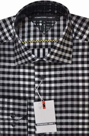 International Laundry Black & White Check Sport Shirt #8054
