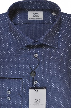 SAND Blue Dot Tailored Fit Sportshirt #8791-580