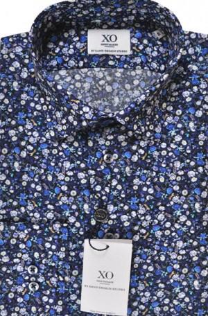 SAND Navy Pattern Tailored Fit Sportshirt #8828-560