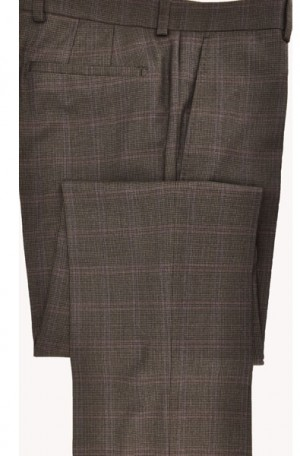 Betenly-Aristo Brown Windowpane Tailored Fit Dress Slacks #902182