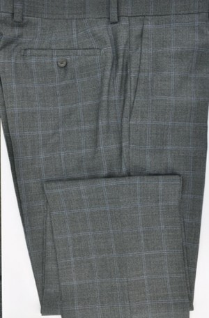 Betenly-Aristo Gray Windowpane Tailored Fit Slacks #902208