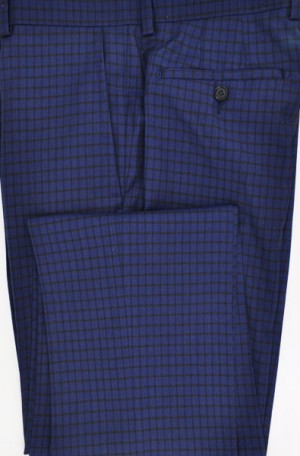 Betenly-Aristo Navy Check Tailored Fit Dress Slacks #902234