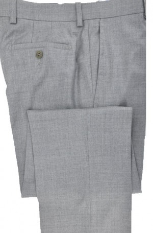 Betenly-Aristo Silver-Gray Tailored Fit Flat Front Flannel Dress Slacks #902242