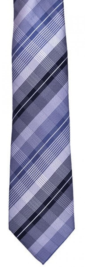 Blue Grey Plaid Tie