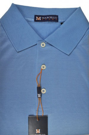 Marcello Blue Short Sleeve Polo #BA01-BLUE