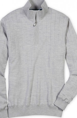 Bobby Jones Light Gray Fully Lined 1/4 Zip Sweater #BJL47003-078