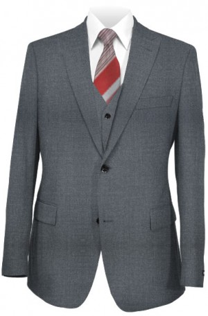 The Perfect Wedding Suit - Classic or Slim Fit Medium Gray Vested Suit
