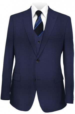 The Perfect Wedding Suit - Classic or Slim Fit Solid Navy Vested Suit