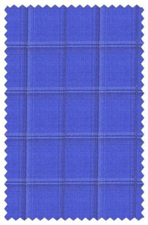 Tiglio Blue Windowpane Vested Tailored Fit Suit #F8004
