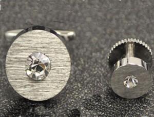 Silver Disk Cuff Link & Stud Set #FS143