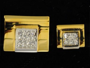 Gold Rectangle Cuff Link and Stud Set #FS144