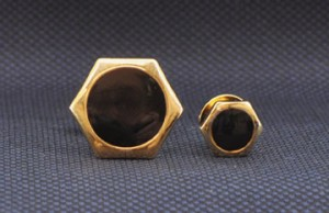 Gold Hexagon Cuff Link and Stud Set #GOLD-OCTAGON