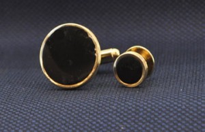 Gold Ringed Cuff Link and Stud Set #GOLD-ROUNDD