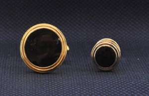 Gold Triple Ring Cuff Link and Stud Set #GOLD-ROUNDT