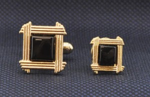 Gold Frames Cuff Link and Stud Set #GOLD-SQUAREF