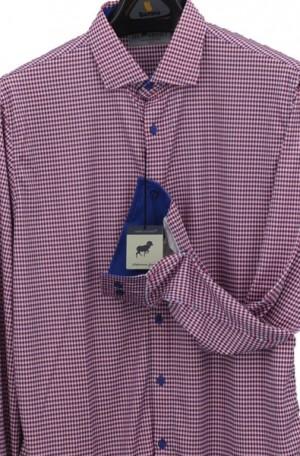 Horn Legend Blue & Red Stretch Fabric Shirt #HL1022-BLUERED