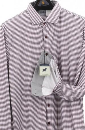 Horn Legend Maroon & Gray Stretch Fabric Shirt #HL1022-MAROON