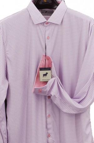 Horn Legend Pink & Gray Stretch Fabric Shirt #HL1022-PINK