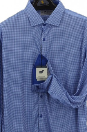 Horn Legend Blue & White Stretch Fabric Shirt #HL1023-RYL