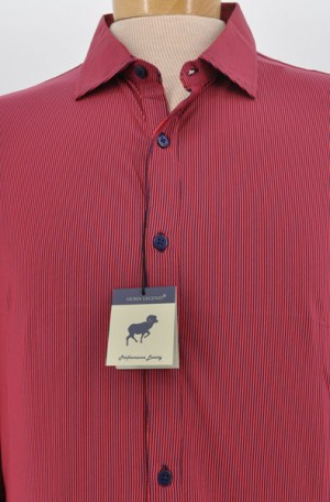 Horn Legend Red & Navy Tailored Fit  Long Sleeve Performance Shirt #HL1029-NVY