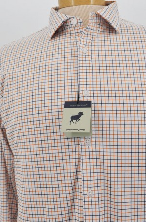 Horn Legend White, Navy & Orange Check Tailored Fit Long Sleeve Performance Shirt #HL1042-NVY