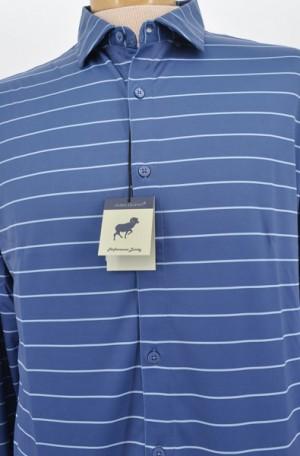 Horn Legend Blue Stripe Tailored Fit Long Sleeve Performance Shirt #HL1043-MOON