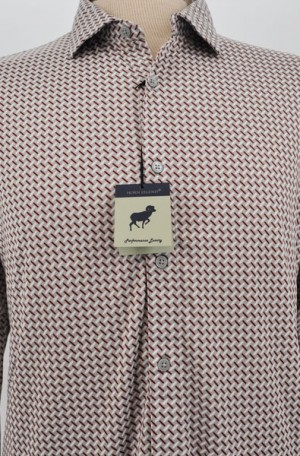 Horn Legend Gray & Burgundy Pattern Tailored Fit Long Sleeve Performance Shirt #HL1101-GRY