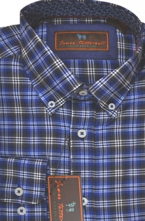 James Tattersall Blue Plaid Tailored Fit Shirt #J000610-BLUE