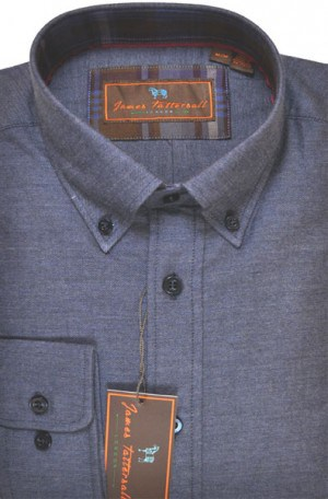 James Tattersall Blue Brushed Cotton Tailored Fit Shirt #J025611-NVY