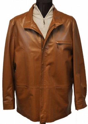Marcello Brown 3/4 Length Leather Jacket #J320-BRN