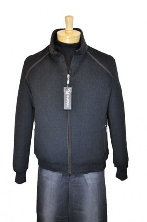Marcello Sport Charcoal Wool-Cashmere Bomber Jacket #J390-CHAR