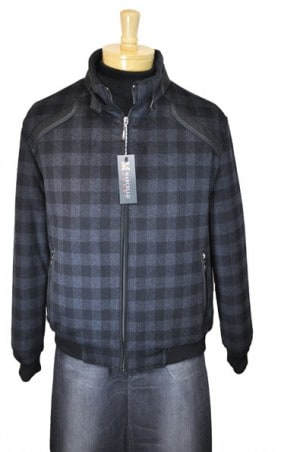 Marcello Sport Charcoal Pattern Wool-Cashmere Bomber Jacket #J391-CHAR