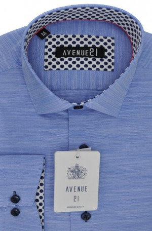 """The Knit"" Textured Light Blue Tailored Fit Shirt from Avenue21 #M25"