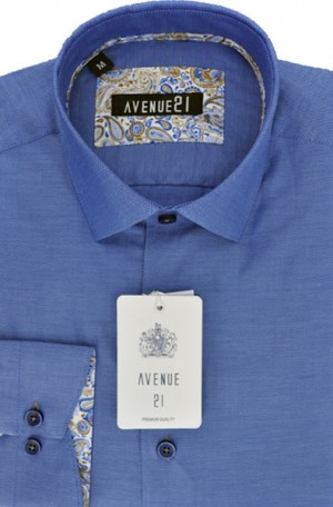 """The Knit"" Royal Blue Tailored Fit Shirt from Avenue21 #M38"