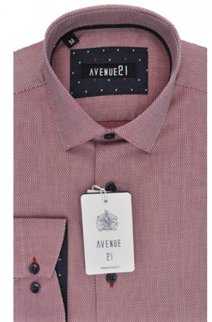 """The Knit"" Red Fine Pattern Tailored Fit Shirt from Avenue21 #M51"