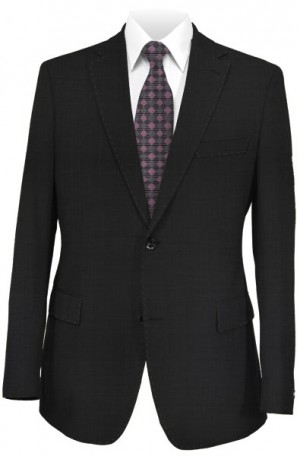 Max Davoli Black Solid Color Tailored Fit Suit #MD1264-888