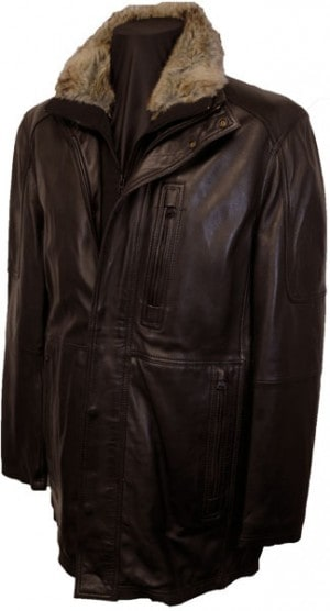 Marc New York Brown Leather Car Coat