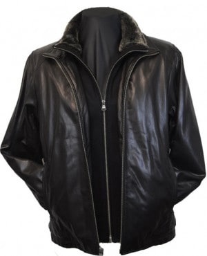 Marc New York Black Lambskin Bomber Jacket