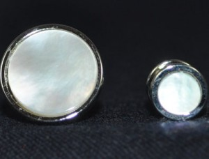Silver & Mother of Pearl Cuff Link & Stud Set #MOP-S