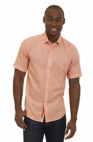 Robert Graham Soft Orange Short Sleeve Linen-Cotton Shirt #MS172104TF-ORNG