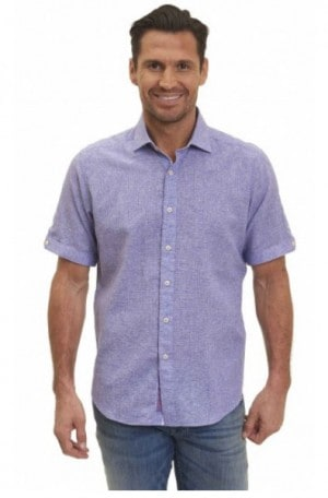 Robert Graham Purple Shortsleeve Tailored Fit Shirt MS172104-PRPL