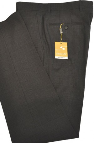 Santorelli Gray Micro-Check Slim Fit Dress Slacks #OPT-149-2